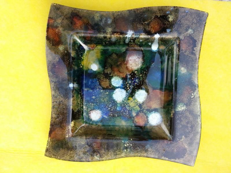 peinture et encre sur verre